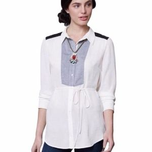 Anthropologie Maeve Chambray Bib Tunic Button Up